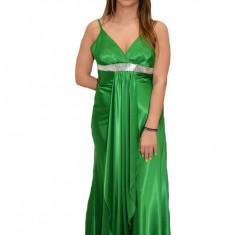 Rochie de seara lunga, verde, decolteu in V, bretele subtiri, 36, 38, 40, 42