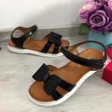 Cumpara ieftin Sandale negre elegante cu fundita pt fete / talpa moale 33 34 35 36