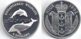 Niue 1992 - 5 dollars Ag, delfini, PROOF