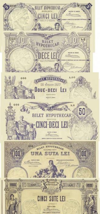 Romania 5, 10, 20, 50, 100, 500 Lei 1877 Bilete Hypotecare Reproduceri