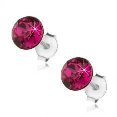 Cercei din argint 925, cristal Swarovski rotund de culoare roz închis, 6 mm