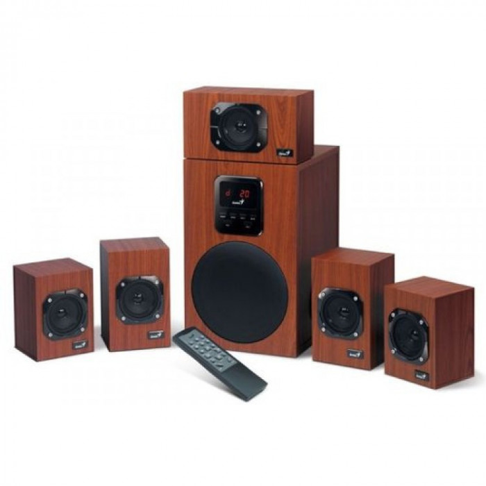Boxe Genius SW-HF5.1 4800 II, Sistem audio 5.1, Putere RMS 125 W, Telecomanda wireless, Maro
