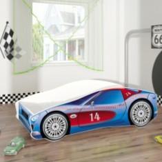 Set Pat Tineret 160x80 Speed Race Car Blue + Saltea