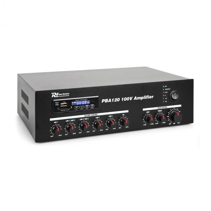 Power Dynamics Power dynamics pba120, amplificator, 100V, 120W, usb / sd, MP3, bluetooth