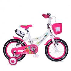 Bicicleta pentru fetite cu roti ajutatoare si cosulet 14 inch Little Monster Pink