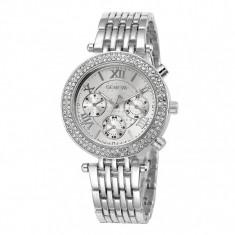 Ceas de dama Geneva Crystal Roman Silver