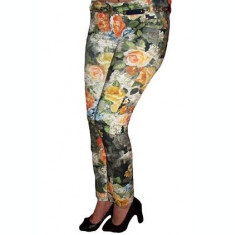 Pantaloni skinny, tineresti, cu imprimeu colorat cu flori
