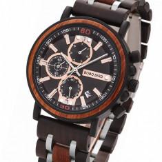 Ceas din lemn Bobo Bird cu curea din lemn, S18 Wooden Lux