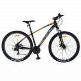 Bicicleta MTB-HT CARPAT C2957C, roti 29inch, cadru aluminiu, frane mecanice disc, 24 viteze (Negru/Portocaliu)