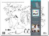 Plansa pentru colorat, reutilizabila, harta lumii cu animale, silicon, 48 X 335 cm