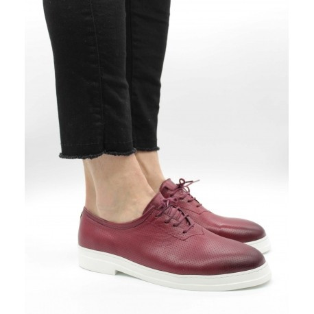 Pantofi piele naturală 546 43 Bordeaux