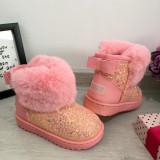 Cizme roz cu sclipici si fundita imblanite de iarna fete copii 26 27 30