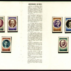 1966 Romania, Aniversari culturale I LP 631, pliant filatelic de prezentare