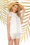 Bluza Pretty Girl alba de vara cu broderie perforata si volane laterale