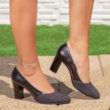 Pantofi Piele cu toc dama negri Ceaple