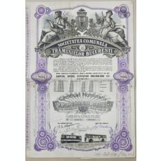 SOCIETATEA TRAMVAIELOR BUCURESTI , CERTIFICAT NOMINATIV DE DOUAZECI ACTIUNI IN VALOARE DE 10.000 DE LEI , EMIS IN LUNA MARTIE , 1945