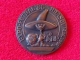 Medalie-placheta fotbal-EXPO Fotbal `86 Brasov (Campionatul Mondial MEXICO 1986)