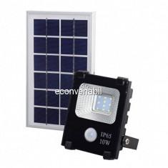 Proiector LED 10W Alb Rece cu Panou Solar si Senzor de Miscare WT