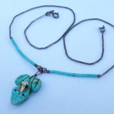 COLIER argint TRIBAL cu BROSCUTA din TURCOAZ manopera EXCEPTIONALA de efect RAR