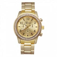 Ceas pentru dama Geneva CS1099, bratara metalica, stil elegant, cadran cu cristale, model auriu