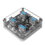 Cumpara ieftin Adaptor HUB aluminiu 4-in-1 Orico BNS1, USB - 4x USB 3.0, cablu USB 1m inclus, Transparent