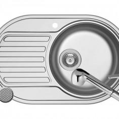 Pachet chiuveta SR MINI 1B1D DR LN + Baterie FIDO Pyramis Inox
