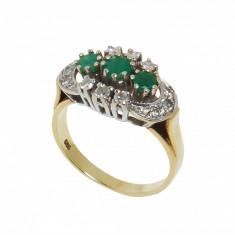 Inel din aur galben 14K smaralde si diamante, circumferinta 53 mm, IAU90