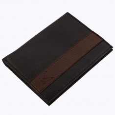 Portofel barbati Frank van de Wijgert, piele ecologica, 14 X 11 cm, Negru/ Maro