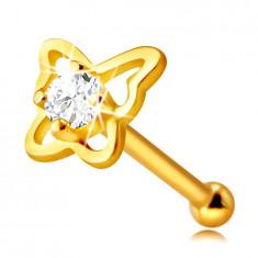 Piercing din aur galben 14K pentru nas - conturul unui fluture cu zirconiu rotund, 4mm