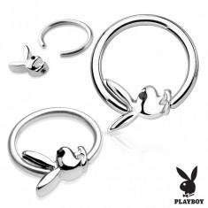 Piercing pentru corp din oțel chirurgical de culoare argintie cu iepuraș Playboy - Diametru piercing: 1,6 mm