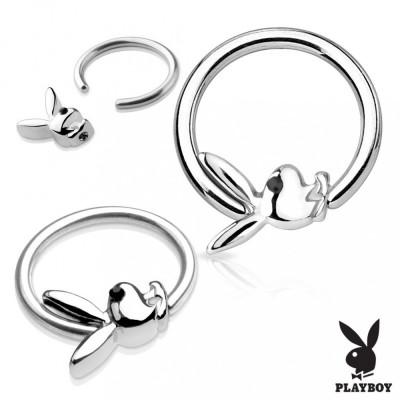Piercing pentru corp din oțel chirurgical de culoare argintie cu iepuraș Playboy - Diametru piercing: 1,6 mm foto