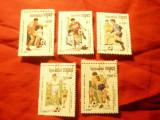 Serie mica Cambogia 1991 - Campionat Fotbal USA  , 5 val. stampilate
