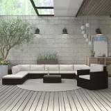 Cumpara ieftin Set mobilier de grădină cu perne, 11 piese, maro, poliratan