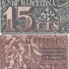 1937, 15 centimes - Spania (Primăria din Barcelona)