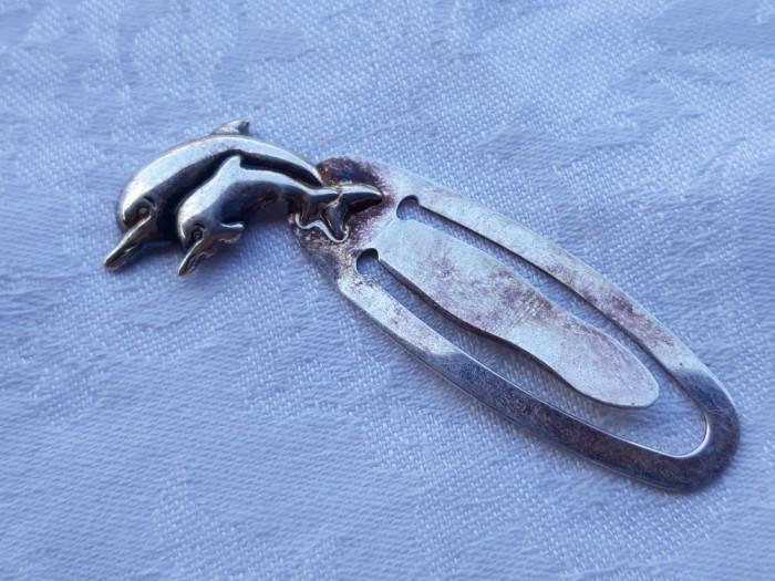 SEMN de CARTE argint cu heraldica DELFINI splendid ITALIA de efect SUPERB