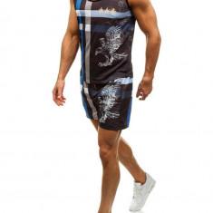 Set de plajă pentru bărbat: tricou de plajă+pantaloni scurți de înot negri-albaștri Bolf 2120