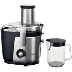 Storcator de fructe si legume Bosch MES4010, 1200 W, Recipient suc 1.5 l, Recipient pulpa 3 l, 3 Viteze, Tub de alimentare 84 mm, Argintiu/Negru