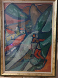 Pictura Nemeth Miklos, ulei pe carton, Abstract
