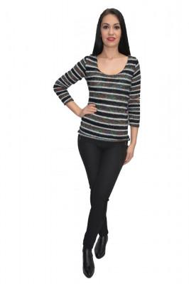 Bluza tricotata,model multicolor ,nuanta neagra foto