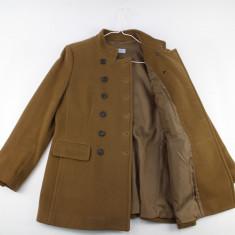 Palton scurt Strenesse Blue, camel-cafeniu, 90% lana pura, 10% casmir