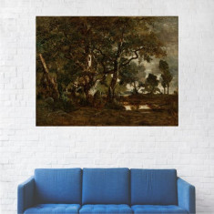 Tablou Canvas, Peisaj Intunecat de Toamna - 20 x 25 cm