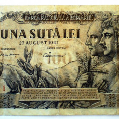 247 ROMANIA RPR UNA SUTA 100 LEI 1947 27 AUGUST SR. 011