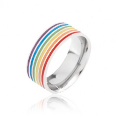 Inel argintiu din oțel, dungi colorate - Marime inel: 67