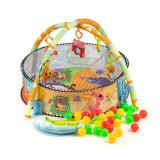 Tarc de joaca pentru copii tip piscina 3in1, cu 30 bile multicolor si 6 jucarii, 74x52cm, Ecotoys
