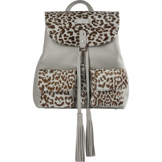 Grey Animal Print Limited Edition Leather Backpack