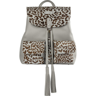 Grey Animal Print Limited Edition Leather Backpack foto