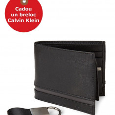 Set Portofel si Breloc Calvin Klein Black Leather Passcase Wallet & Twist Key Fob Set, din piele, Negru