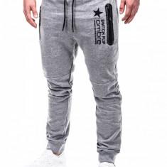 Pantaloni pentru barbati de trening, gri-deschis, fermoare, banda jos, cu siret, bumbac - p420