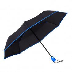 Umbrela telescopica, neagra cu margine albastra, deschidere si inchidere automata, ∅ 112cm