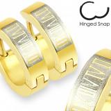 Cumpara ieftin Cercei aurii din oțel inoxidabil - cifre romane
